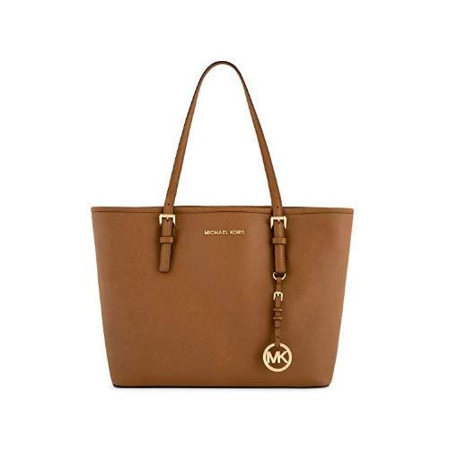 MICHAEL Michael Kors Jet Set Travel Medium Carryall Tote Saffiano Leather - Luggage (Shoulder Double Top Zip Bag)