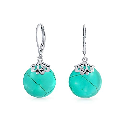 - Bali Style Stabilized Turquoise Gemstone Round Disc Filigree Drops Leverback Dangle Earrings For Women Sterling Silver