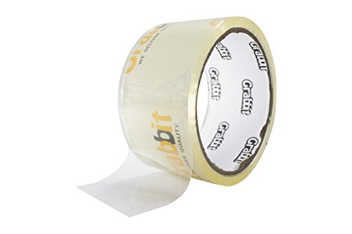 Grabbit Crystal Clear OPP Tape, 48mm (1.9 inch) x 40 Yards, Glossy, Crystal Clear, Pack of 4. ()