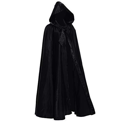 GRACEART Full Length Hooded Cloak Medieval Cape (Black)