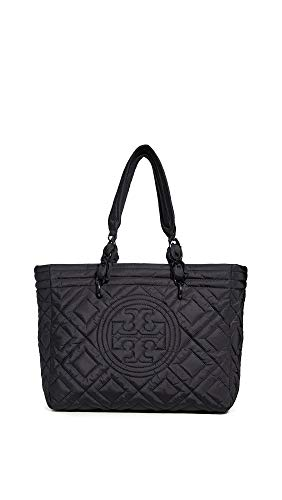 Tory Burch Women's Fleming Quilted Nylon Small Tote, Black, One ()