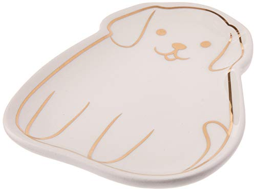 Abbott Collection 27-STEEP 25-CAFE/SM RED Dog Teabag/Trinket Plate-Wht-4.5