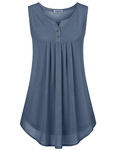 Baikea Ruched Tops for Women, Ladies Notch Neck Sleeveless Button Down Blouses High Low Hem Slim Fit Pleated Tanks Silky Soft Solid Color Swing Tunic Shirts Grey M