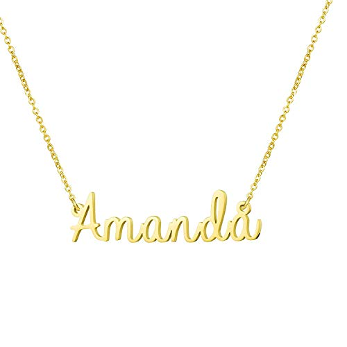 Yiyang Birthday Gift for Girls Personalized Name Necklace 18K Gold Plated Stainless Steel Jewelry Amanda