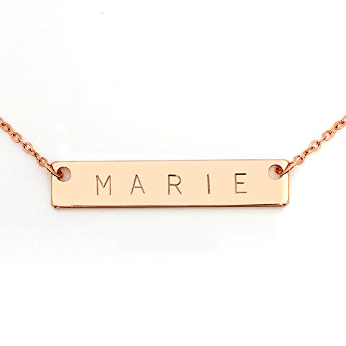 Personalized Necklace Name Plate Bar Women Necklace in Rose Gold Bridesmaid Gift Initial Necklace Your Name Necklace - 4N (Rose Gold)