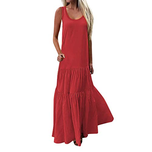 (Sunhusing Women's Bohemian Casual Wind Long Maxi Dress Sleeveless Low Cut Ruffles Baggy Floor-Length Dress Red)
