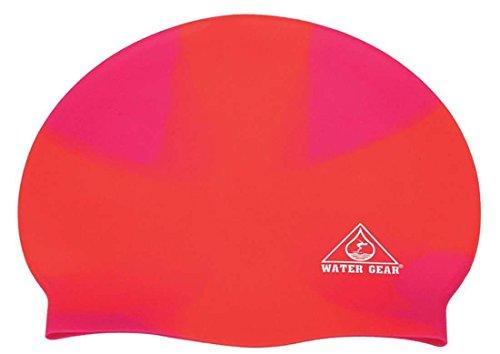 (Water Gear Jazz Silicone Swim Cap Criss Cross Orange/Pink)