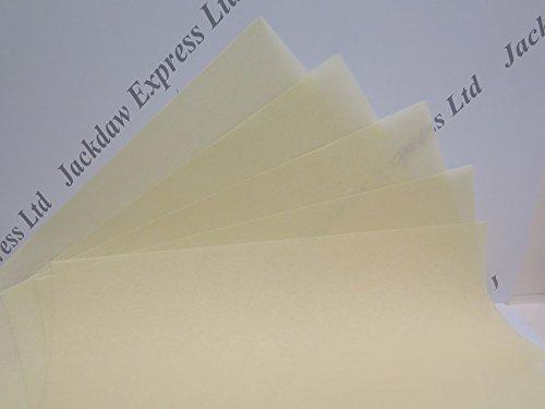 20 x Vellum Parchment Natural (Pale Creamy Yellow) A4 115gsm JLH051 Jackdaw Express