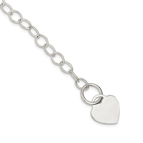 925 Sterling Silver Toggle Link Heart Bracelet 7.5 Inch Charm W/charm/love Fine Jewelry Gifts For Women For ()