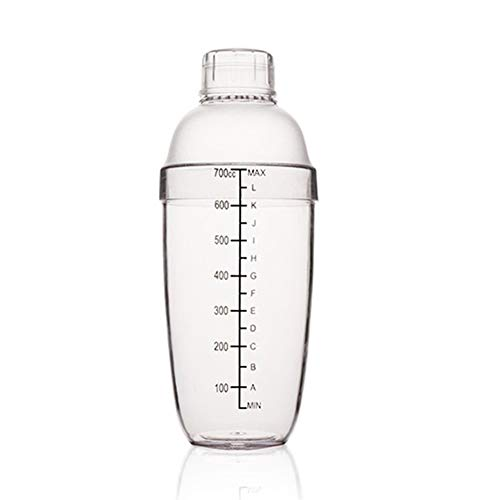 FEOOWV Plastic Cocktail Shaker,Drink Mixer Hand Shaker Cup with Scales,Transparent (24 oz / - Shaker Drink Plastic