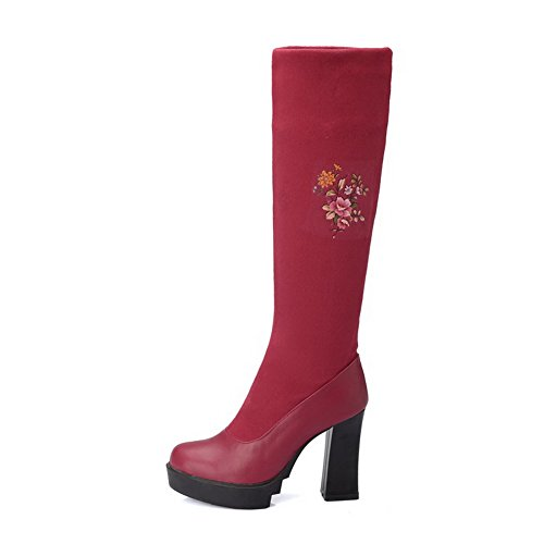 VogueZone009 Damen Ziehen auf Hoher Absatz Gemischte Farbe Stoffdruck Stiefel Rot