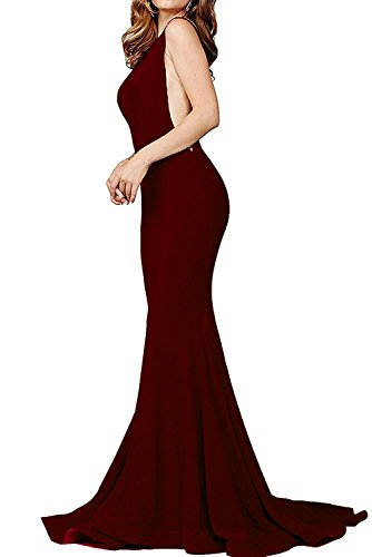 Women's Sexy Mermaid V Neck Deep Back Long Evening Prom Dresses, Burgundy, Small (Evening Gown Back)