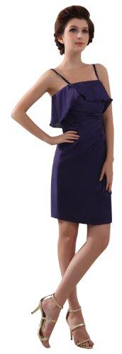 herafa p31353-14 Prom Dresses Romantic Style Spaghetti Straps Sleeveless Flouncing mini Sheath Purple