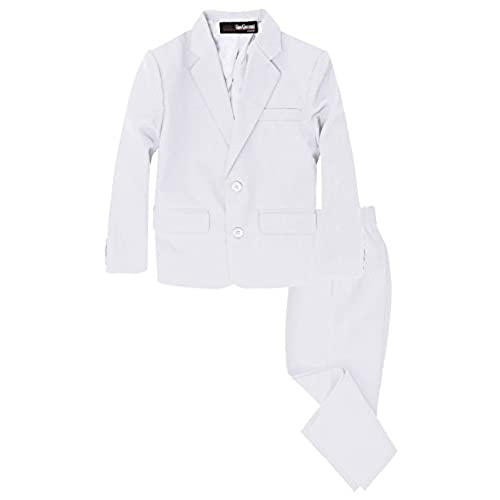 G218 Boys 2 Piece Suit Set Toddler to Teen (16, White)