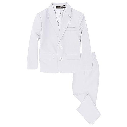 G218 Boys 2 Piece Suit Set Toddler to Teen (16, White)