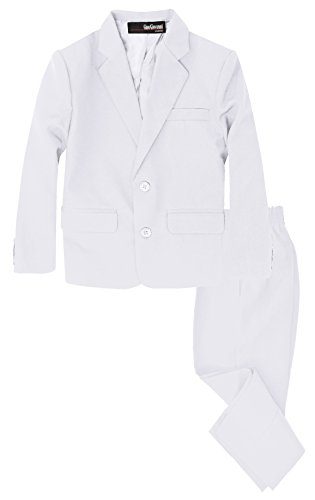 G218 Boys 2 Piece Suit Set Toddler to Teen (14, White)