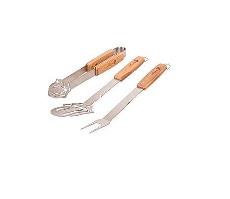 3er Laguiole Grillbesteck Set Grillwender Grillzange Grillgabel Edelstahl Holz