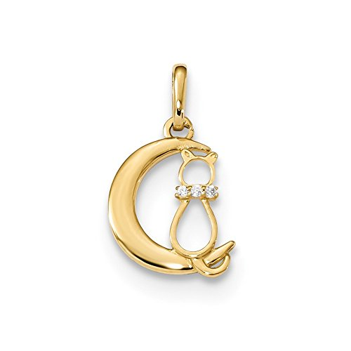 14k Yellow Gold Childrens Cubic Zirconia Cz Cat Moon Pendant Charm Necklace Kid Fine Jewelry Gifts For Women For Her