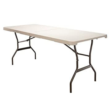 Lifetime Beige 6 Foot Fold In Half Table With Folding Legs