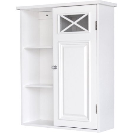 Prairie Wall Cabinet with Side Shelves and Door, White | Designed with Simple Lines and Crisscross Accents (Cabinet Prairie Wall)