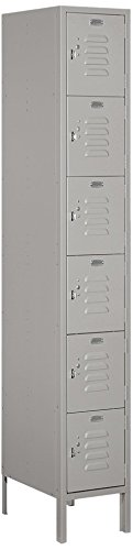 Salsbury Industries 66168GY-U Six Tier Box Style 12-Inch Wide 6-Feet High 18-Inch Deep Unassembled Standard Metal Locker, Gray -