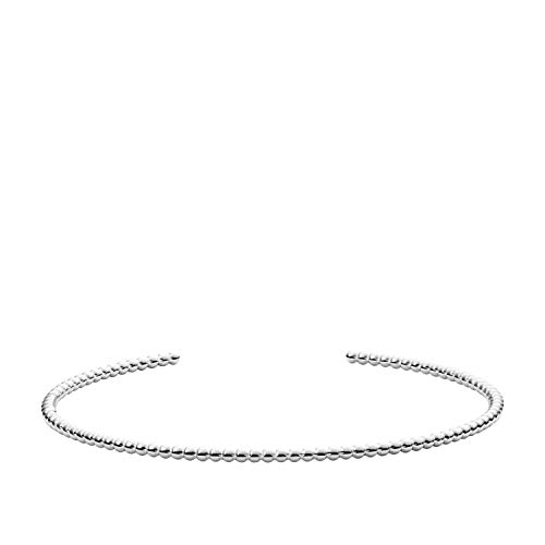 (Fossil Women's Textured Beaded Sterling Silver Open Cuff, One Size)