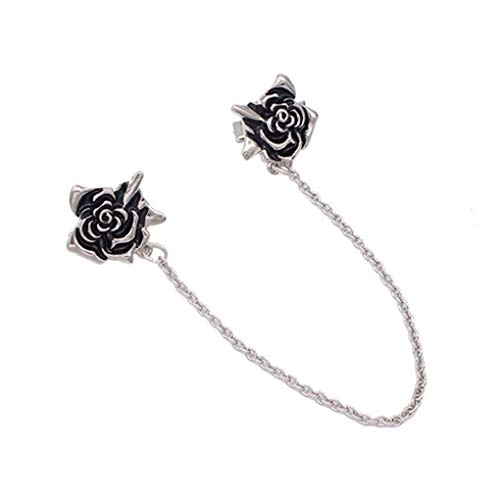 daindy Sweater Clip Chain Enamel Rose Flower Decoration Clothes Scarf Scarves Cardigan Pins