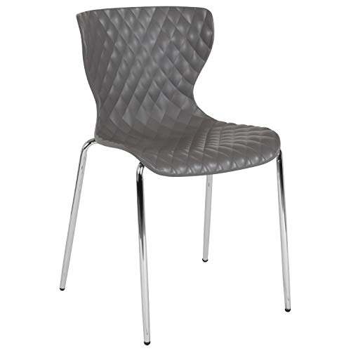 Flash Furniture Lowell Contemporary Design Gray Plastic Stack Chair