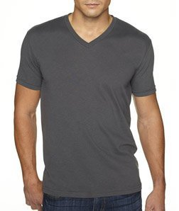 Next Level Apparel 6440 Mens Premium Fitted Sueded V-Neck Tee - Heavy Metal, Large ()