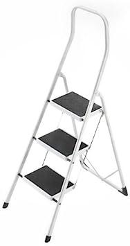 Hailo 4313-001 Taburete de acero con 3 peldaños y estribo de seguridad extra alto de 50 cm, Blanco, un tamaño