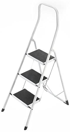 Hailo 4313-001 Taburete de acero con 3 peldaños y estribo de seguridad extra alto de 50 cm, Blanco, un tamaño: Amazon.es: Bricolaje y herramientas