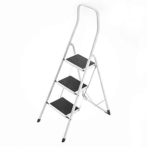 Hailo 4313-001 Taburete de acero con 3 peldanos y estribo de seguridad extra alto de 50 cm, Blanco, un tamano