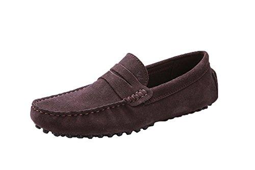 Santimon - Confort Décontracté Pour Hommes Cuir Nubuck Course En Plein Air Bateau Chaussures Mocassins Mocassins Café