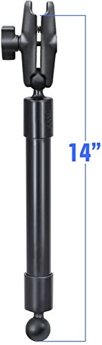 (Ram Mount RAP-BB-230-14-201U  Long Extension Pole With Diameter Ball Ends and Double Socket Arm, Black)