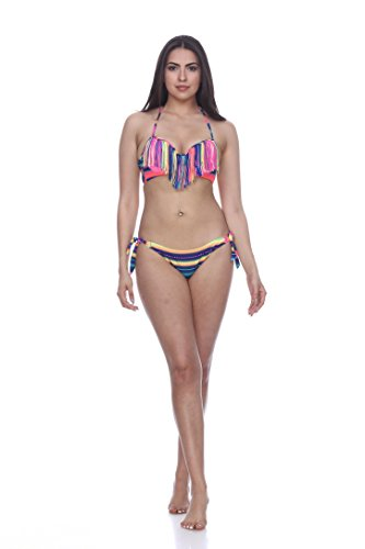 H1625 Push Up Fringe With Tie Side Bottom (Large, (Rainbow Tie Side Bottom)