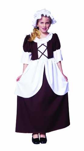 RG Costumes Colonial Girl Costume, Brown/White, Large