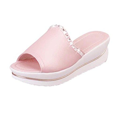 Zapatillas de verano, Internet Zapatillas de verano mujeres plataforma wedges zapatos Rosado