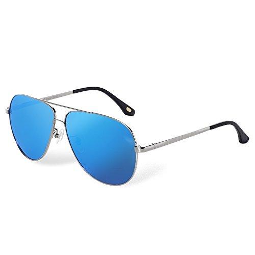 Steampunk guía metal sesgada gafas Brown sol blue TL de sol vuelve gafas hombres UV400 Aviador en de de Sunglasses O0w7qv8