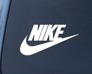 Nike Swoosh Logo Vinyl Sticker Decal-White-12 Inch