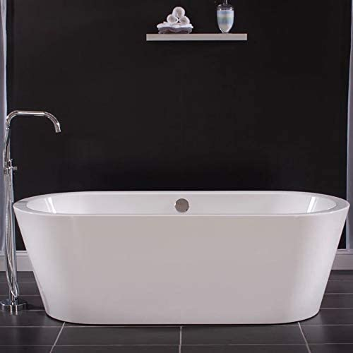 Miseno 3034273 Acrylic Free Standing 71 X 32 Bathtub – Includes Chrome Drain Assembly and Self Leveling Base