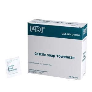 Castile soap towelette, ph balanced w/2% coconut oil soap, 1