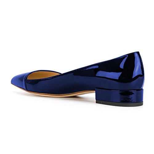 Scarpe Da Donna Comfort Xyd In Pelle Verniciata Scarpe Basse A Punta Tacco Basso Blu Zaffiro