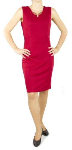 Miss Classic Damen Kleid ärmellos mit Modeschmuck Flügel, Businesskleid, Freizeit Kleid, halbrunden Ausschnitt Dunkel Rot
