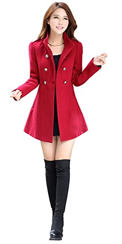 Alralel Women Wool Blend Turn Down Collar Double-breasted Waisted Overcoat Coat S Red