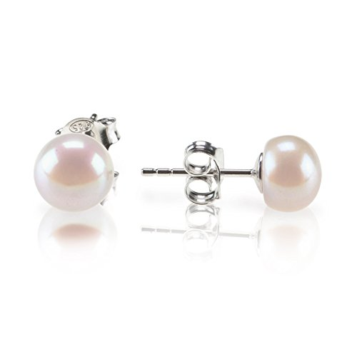 PAVOI Sterling Silver Freshwater Cultured Stud Pearl Earrings - 6.5mm AAA Quality ()