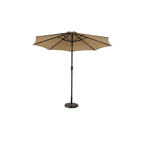 Hampton Bay 9 ft. Steel Crank and Tilt Patio Umbrella with base Cafe