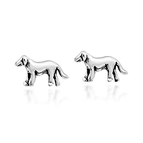 Adorable Golden Retriever Puppy .925 Sterling Silver Stud Earrings