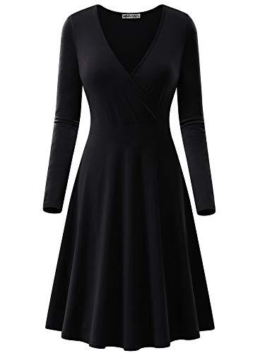 MSBASIC Semi Casual Dress, Wrap Dress Plus Size V Neck Dresses for Women (Black, XXL) (Long Sleeve V Neck Dress Plus Size)