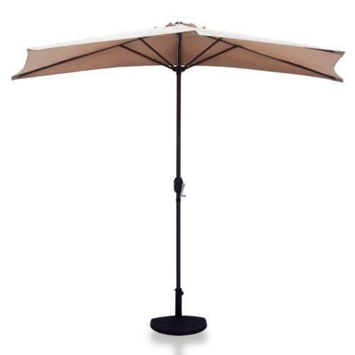 GHP 10 Ft. Outdoor Beige Color Half Feet Base Patio Umbrella