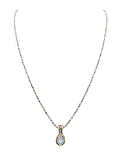"""John Medeiros Clear Cubic-Zirconia 9X6MM Pear Shaped Bezel Setting Silver and Gold Tone Pendant 18"""" Handcrafted Necklace Made in America"""